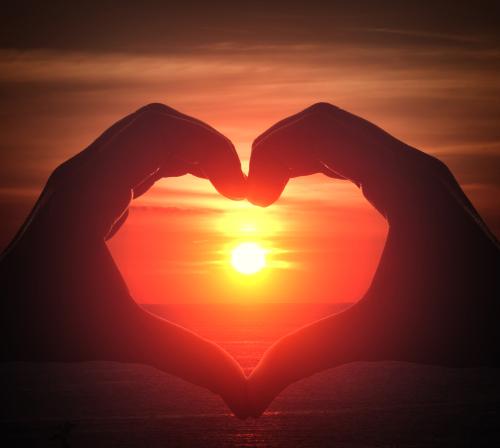 Hand heart sunrise Jack Moreh